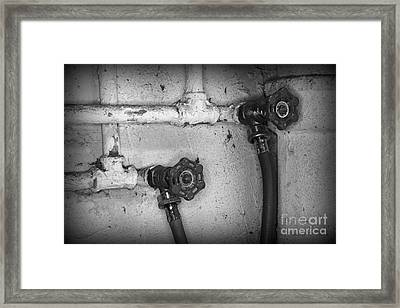 Plumbing Old Handles In Black And White Framed Print