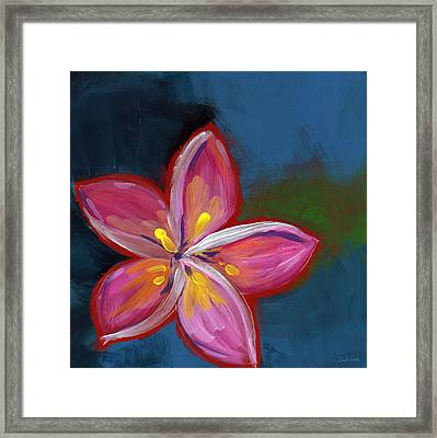 Plumeria- Art By Linda Woods Framed Print by Linda Woods