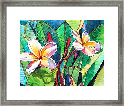 Framed Print featuring the painting Plumeria Garden by Marionette Taboniar