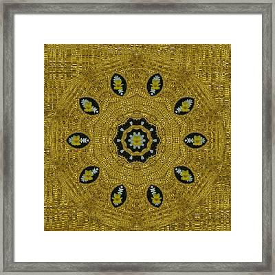 Plumerias In Golden Environment Framed Print by Pepita Selles