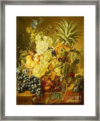 Plums, A Peach, Grapes, A Melon, A Pineapple, A Fig, Currants, Cherries And Flowers Framed Print