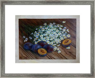 Plums And Daisies Framed Print by Katrin Aster