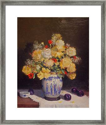 Plums And Flowers Framed Print by David Olander