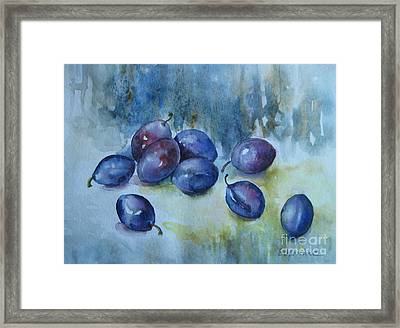 Framed Print featuring the painting Plums by Elena Oleniuc