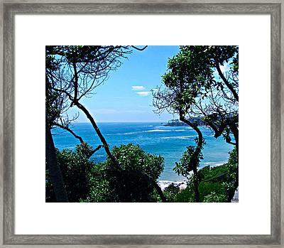 Plush Green To Ocean View Framed Print by Debra     Vatalaro