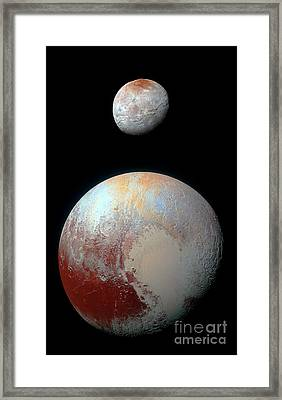Pluto And Charon Framed Print by Nicholas Burningham