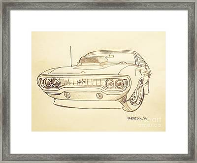 Plymouth Gtx American Muscle Car - Antique  Framed Print