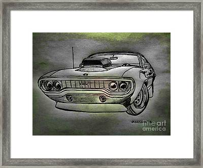 Plymouth Gtx American Muscle Car - Charcoal Background Framed Print