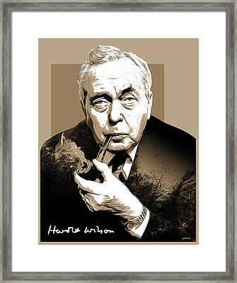 Pm Harold Wilson Framed Print by Greg Joens