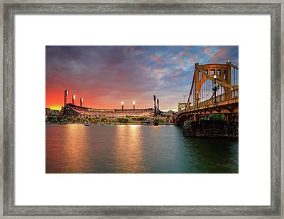 Pnc Park At Sunset Framed Print by Emmanuel Panagiotakis