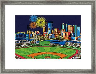 Pnc Park Fireworks Framed Print by Ron Magnes