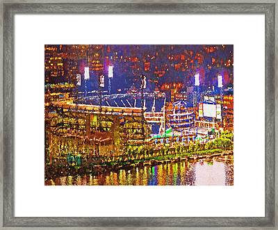 Pnc Park On A Light Up Night Framed Print