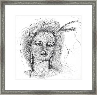 Framed Print featuring the drawing Pocahontas by Mayhem Mediums