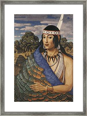 Pocahontas Wears A Turkey-feather Robe Framed Print by W. Langdon Kihn