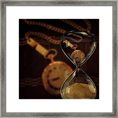Pocket Watch And Sandglass Framed Print