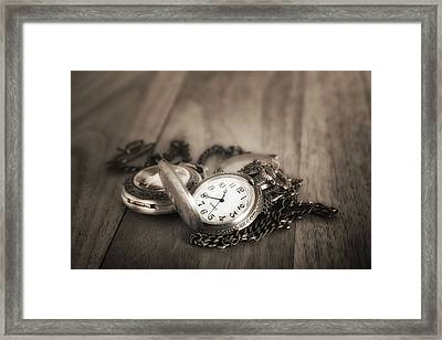 Pocket Watches Times Three Framed Print by Tom Mc Nemar