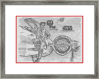 Poe Dameron Framed Print by Chris  DelVecchio