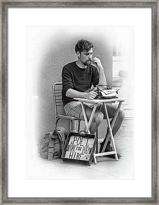 Poet For Hire - Vignette Bw Framed Print