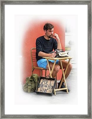 Poet For Hire - Vignette Framed Print