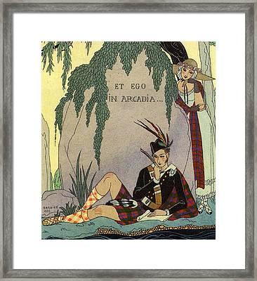 Poet Lover Framed Print by Georges Barbier