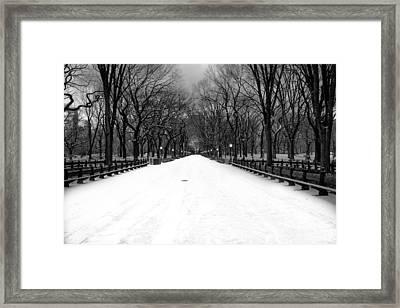 Poet's Walk In Snow Framed Print by Mark Garbowski