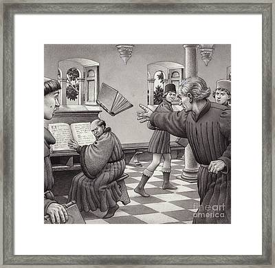 Poggio Bracciolini Throws A Book At A Fellow Scholar, Tortelli Framed Print by Pat Nicolle
