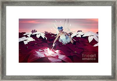 Framed Print featuring the digital art Poinsettia Snow Fairy by Methune Hively