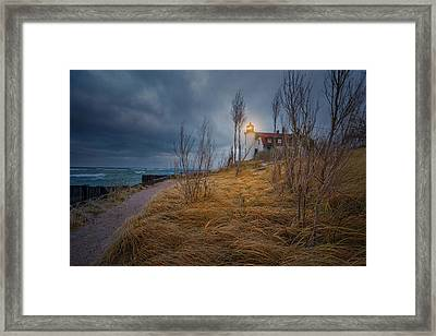 Framed Print featuring the photograph Point Betsie Lighthouse In Frost by Thomas Gaitley