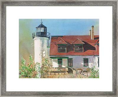 Framed Print featuring the painting Point Betsie Lighthouse by LeAnne Sowa