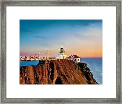 Framed Print featuring the painting Point Bonita Lighthouse by Douglas MooreZart
