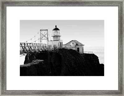 Point Bonita Lighthouse In The Marin Headlands . Black And White Framed Print