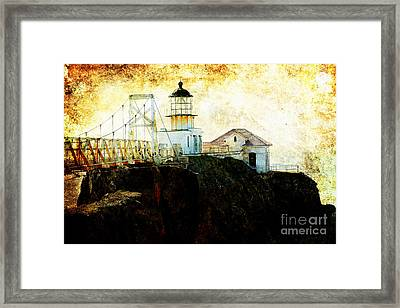 Point Bonitas Lighthouse . Texture Framed Print by Wingsdomain Art and Photography