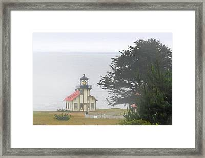 Point Cabrillo Light Station Ca - Lighthouse In Damp Costal Fog Framed Print