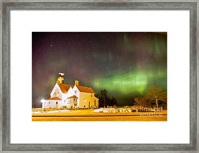Point Iroquois Lighthouse Northern Lights 7469 Framed Print by Norris Seward