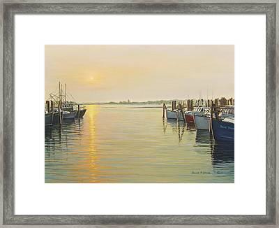 Point Judith Harbor Framed Print by Bruce Dumas