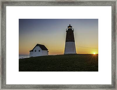 Point Judith Light At Sunset Framed Print by Thomas Schoeller