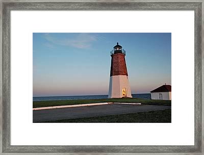 Point Judith Lighthouse Rhode Island Framed Print by Nancy De Flon