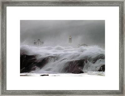 Point Judith Lighthouse Storm Framed Print