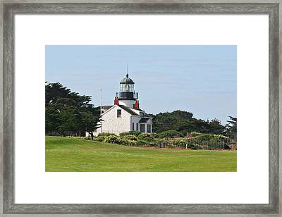 Point Pinos Light - Lighthouse On The Golf Course - Pacific Grove Monterey Central Ca Framed Print by Christine Till