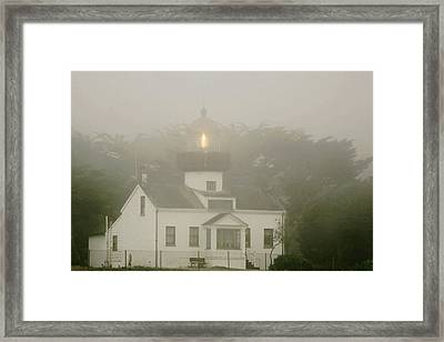 Point Pinos Lighthouse In A Foggy Night - Pacific Grove Monterey Central Ca Framed Print