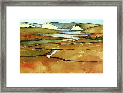 Point Reyes, Ca, Drakes Beach Estuary, Midday Tide, Watercolor Plein Air Framed Print
