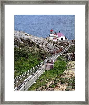 Point Reyes Lighthouse - Lighthouse Seascape Landscape Rocky Coast Framed Print