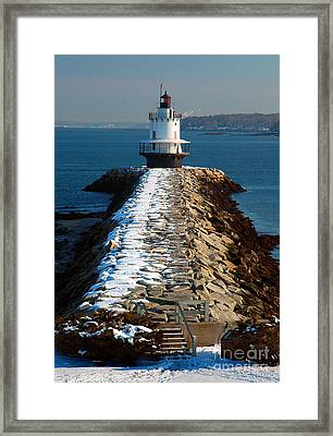 Point Spring Ledge Light - Lighthouse Seascape Landscape Rocky Coast Maine Framed Print by Jon Holiday