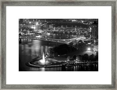 Point State Park In Black And White Framed Print by Frozen in Time Fine Art Photography