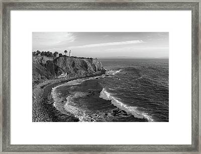 Point Vicente Lighthouse Palos Verdes California - Black And White Framed Print