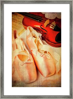 Pointe Shoes And Violin Framed Print by Garry Gay