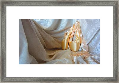 Pointe Shoes On White Framed Print