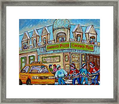 Pointe St Charles Paintings Hockey Game At Connie's Pizza With Yellow Delivery Cab Montreal Art Framed Print by Carole Spandau