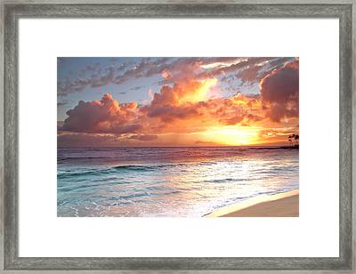 Poipu Beach Sunset Framed Print by Roger Mullenhour