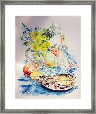 Poissons Framed Print by Muriel Dolemieux